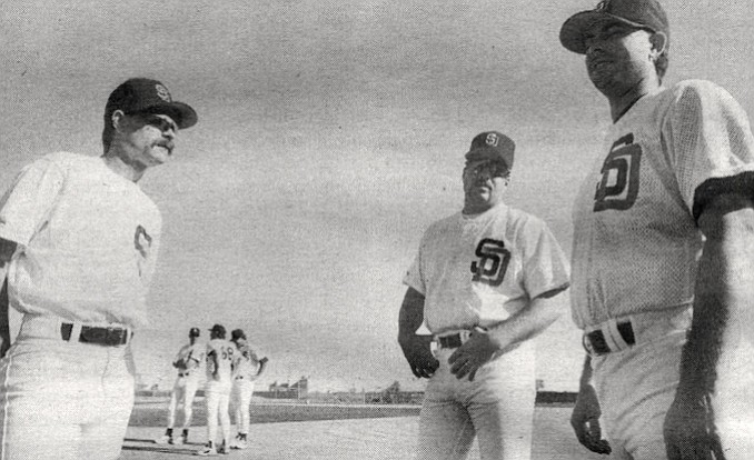 """Dan Boone, Rich Holsman, Pete Roberts. """"Booney's probably the oldest guy out here at 41, but if his knuckleball is going like it can, he could pitch in the All-Star game."""""""