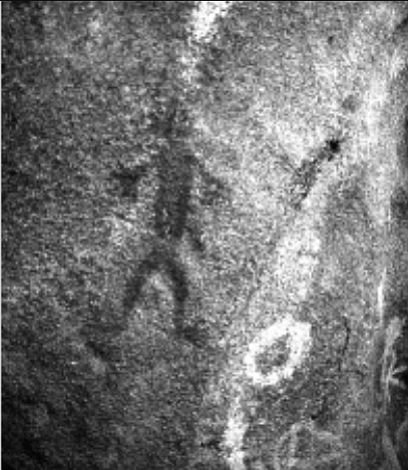 Anthropomorphic pictograph, El Vallecito. A caretaker will perhaps help guide you along a looping mile of easy trail that visits several natural-rock shelters adorned with pictographs.