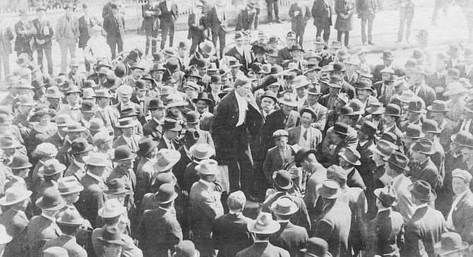 IWW demonstration, 1911. On March 4, 1912 the police department hastily deputized 500 men for the battle, and the common council passed an anti-picketing ordinance, making all demonstrations illegal.
