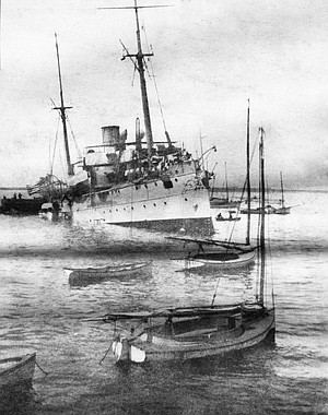 "USS Bennington within hours of the boiler-room blast, July 21, 1905. ""There was a dull, rumbling roar like distant thunder, then clouds of steam enveloped her."""