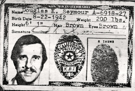 Doug Seymour's Ku Klux Klan I.D. card. Seymour says that Metzger wanted the burning cross to be seen by the park's Fourth of July revelers at Kit Carson Park.