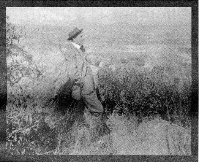 Ed Fletcher Sr. on summit of Grossmont in 1904. That winter he bought the 200-acre Villa Caro Ranch, a house and property that included the hill they would name Grossmont for his partner William B. Gross.
