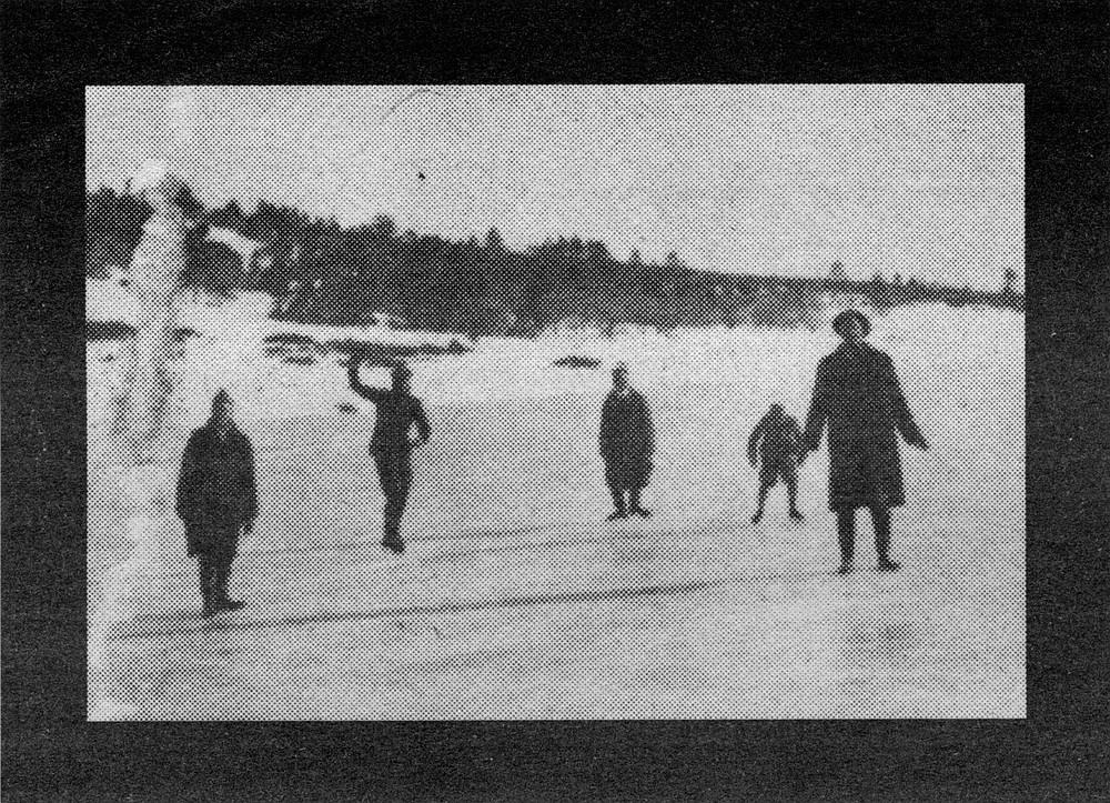 Harry Taylor, Ed Jr., Charlie, Lawrence, and Ed Sr, skating on Cuyamaca Lake, 1916