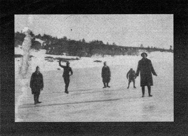 Harry Taylor, Ed Jr., Charlie, Lawrence, and Ed Sr, skating on Cuyamaca Lake, 1916