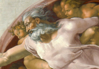 """The Creation of Adam by Michaelangelo. A """"first line announces a new world's creation."""""""