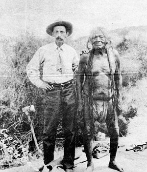 Edward H. Davis and Chief Yellow Sky; 1912.  May speculates that Davis may have embellished the dead prospectors story somewhat, elevating a basically true story to the level of legend.