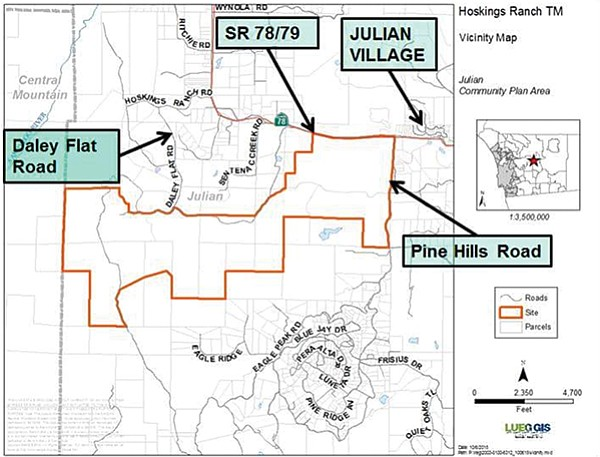 """The state Department of Conservation """"finds the proposed subdivision [indicated by red border] inconsistent with the Williamson Act and the Subdivision Map Act."""""""