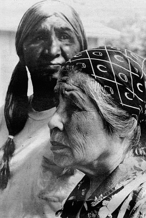 "William and Margret Largo. There was no liquor on the old reservation, says Margaret Largo, but as soon as the tribe was moved to Viejas, in 1931, ""there was plenty of it."""