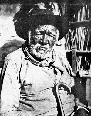 """Old General"" Manuel La Chusa of Carrisito. Davis observed the Indians during a period in which they were being forced to give up a seasonal hunter-gatherer life and adapt to a cash-based economy."
