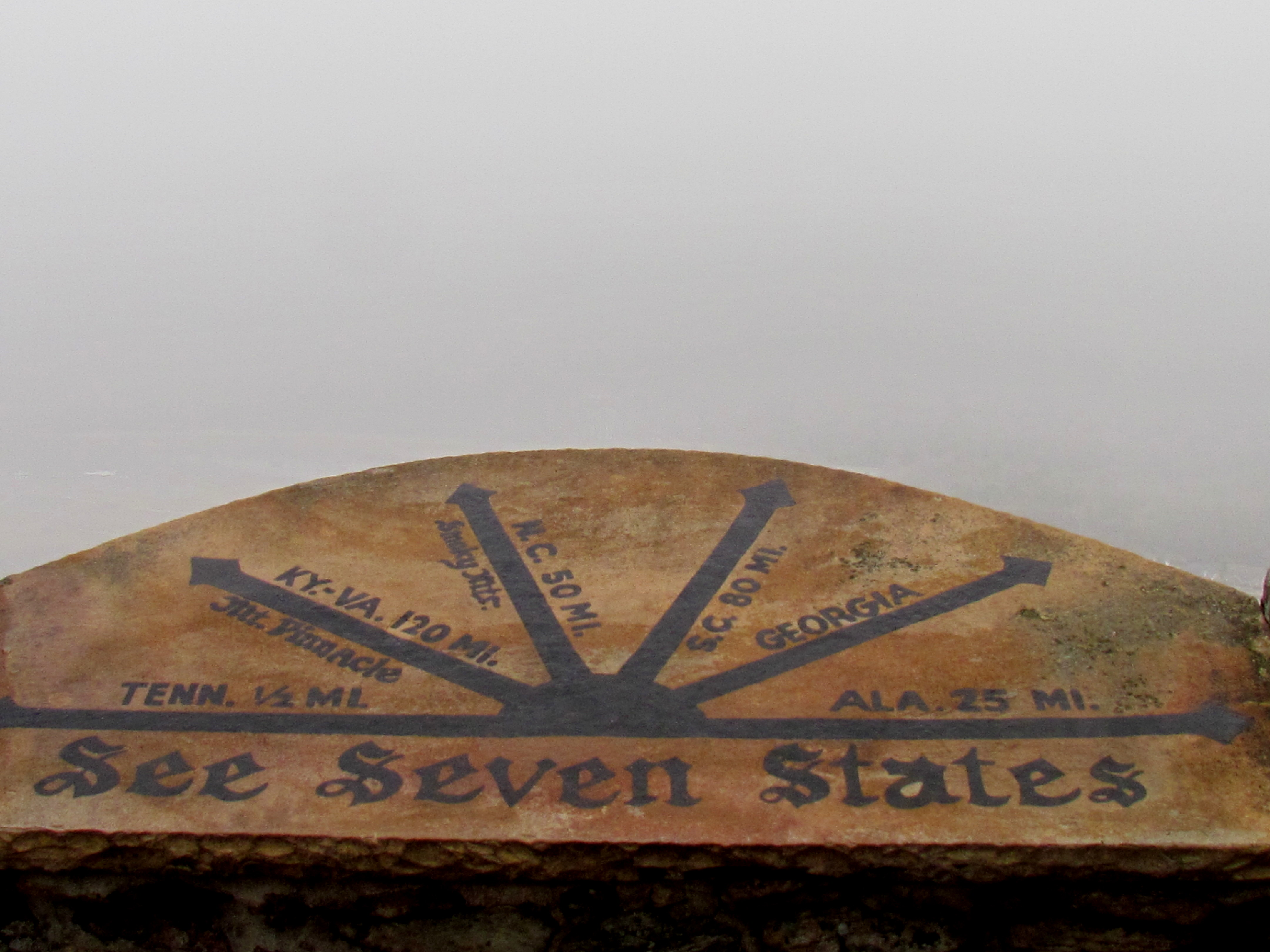 Zero visibility at the marker on top of Lookout Mountain, Chattanooga, TN