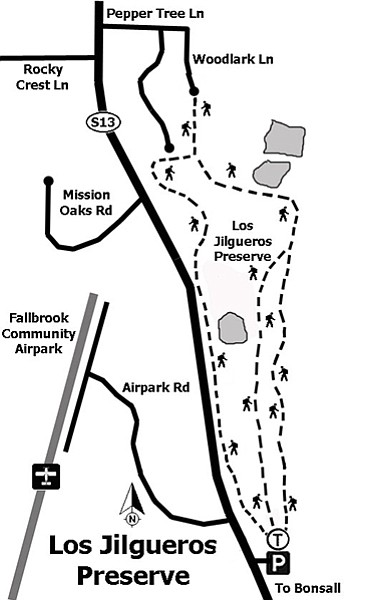 Los Jilgueros Preserve trail map