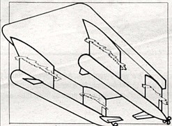 Lang added certain crucial finishing touches, such as underwater fins jutting out from the hulls.