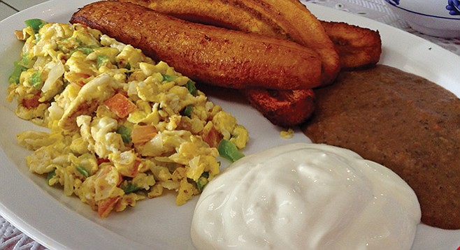 Breakfast plate with Salvadoran favorite, fried plantains