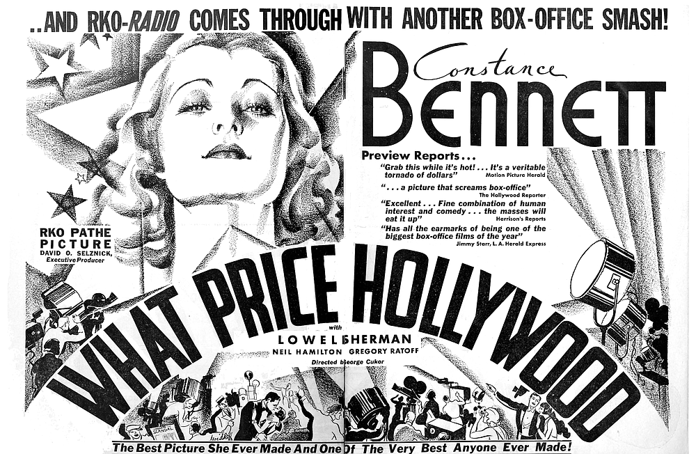 Trade advertisement for What Price Hollywood, Version #1 of A Star Is Born.  The Film Daily, June 29, 1932.