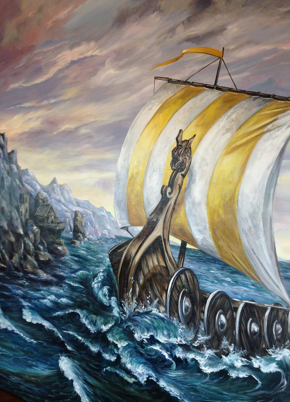 Local artist Robin Golden painted this Viking vessel to decorate the walls of Longship Brewery.