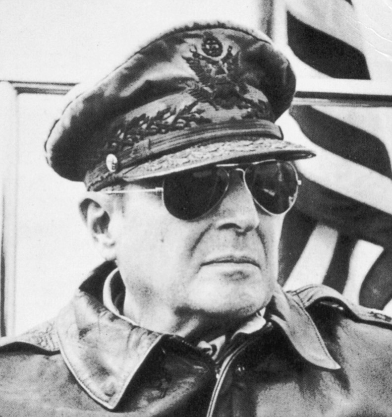 """General Douglas MacArthur. """"He'd invite us boys over. We'd sit there with him and watch movies, newsreels. If it was an Army/Navy game, we'd all go crazy. He would, too."""""""