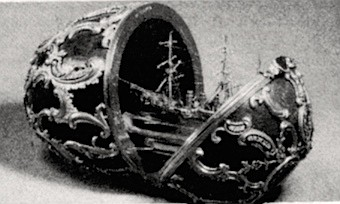 """Azova Egg, 1891. Fabergé's """"work"""" was to crank out tarted up knick-knacks for the amusement of a petulant brood of genetic casualties and moral idiots."""
