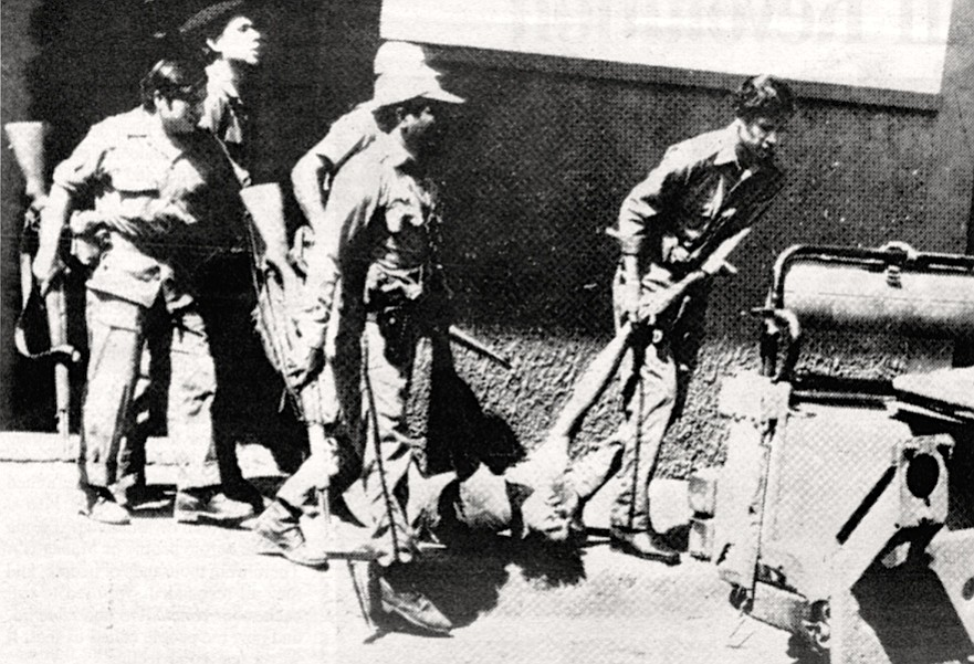 "Nicaraguan army taking suspected Sandinista, 1979.  ""If you weren't in the army, the Guardia assumed you were the enemy."""