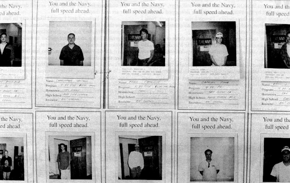 Recruits, Kearny Mesa Navy recruiting station. Turning to the forms, Al asked my religious preference, if I had any children, had I done any drugs (this he almost whispered so another recruiter wouldn't hear).