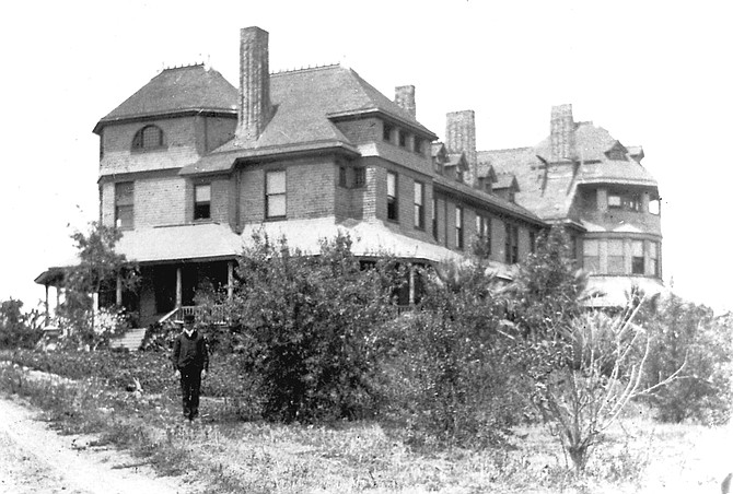 """San Diego College of Arts and Letters, c. 1880s. The college's one building, refurbished, became the Hotel Balboa in 1902. In 1910, the building housed the San Diego Army and Navy Academy. """"The new owners would construct Pacific Plaza, the first shopping center in Pacific Beach."""""""