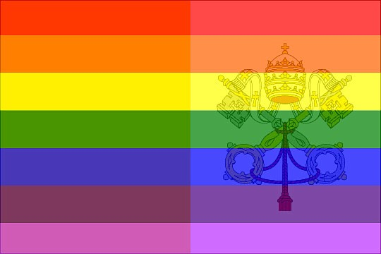 "Artist G. Furiously's conception of an updated Papal Flag. ""I used to call it my freak flag because, as an unhappy gay Catholic, I was sometimes tempted to view myself as a freak. I even got the Catholic Catechism's statement on homosexuality tattooed on my back, where any lover could read it: 'Basing itself on Sacred Scripture, which presents homosexual acts as acts of grave depravity, tradition has always declared that ""homosexual acts are intrinsically disordered."" They are contrary to the natural law. They close the sexual act to the gift of life. They do not proceed from a genuine affective and sexual complementarity. Under no circumstances can they be approved.' But now, thanks to brave leaders like Bishop McElroy, I'm letting my freak flag fly! And maybe someday, I'll even be able to get that tattoo removed."""