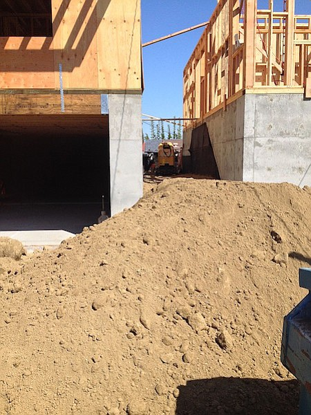 It appears dirt was brought in order to fill to a level that the buildings' heights can be measured.