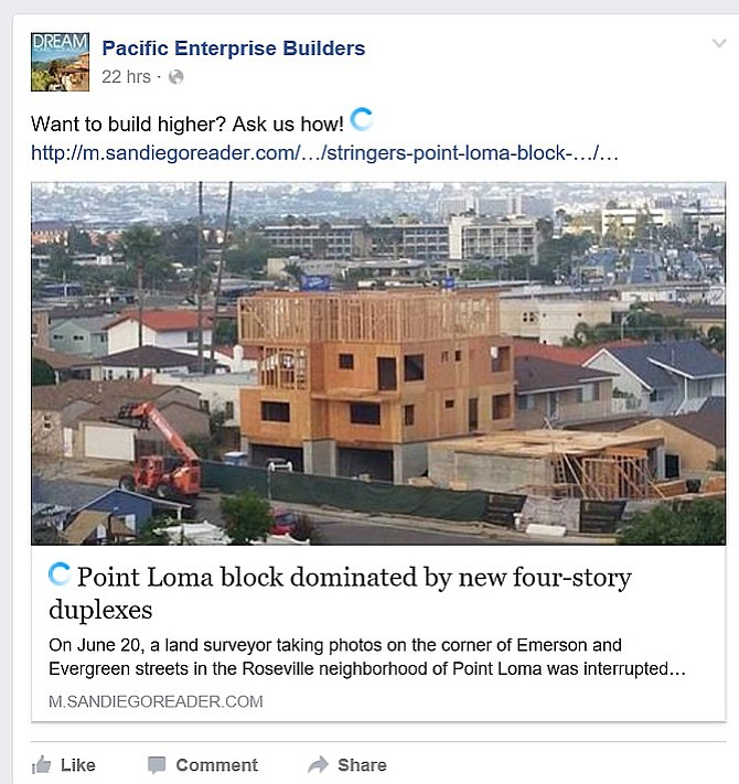Facebook post by the builder did not stay up long