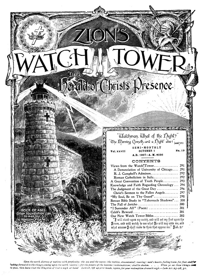 October 1, 1907 issue of Watchtower