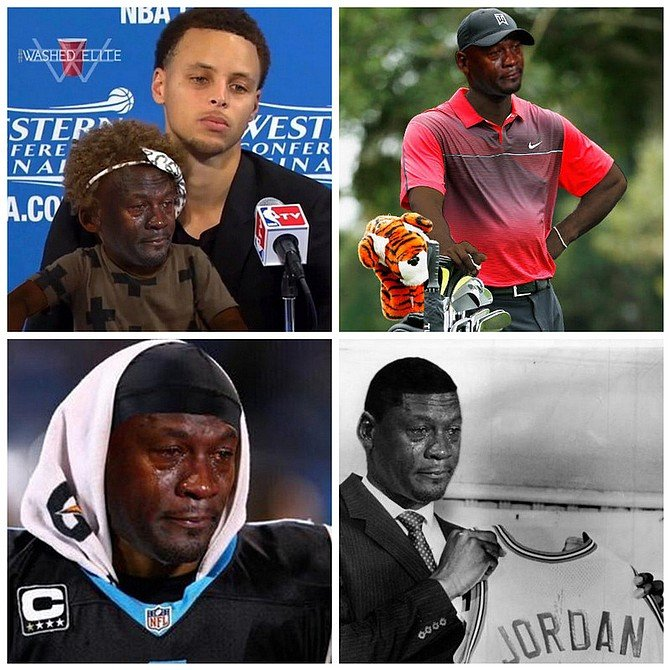 GOAT as goat: Crying Jordan as Golden State star Steph Curry's daughter Riley following a loss, as fallen golf titan Tiger Woods, as losing Super Bowl quarterback Cam Newton, and as his younger, more hopeful self, when his future still lay before him, shining brightly and just out of reach.