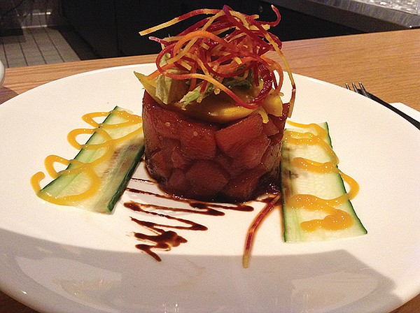 Ahi tuna tartare: art on a plate for five bucks. And filling, if you can bear to bust it up.