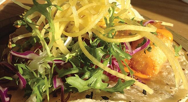 "Market Hall's Baja shrimp taco: yellow ""thread"" is carrot"