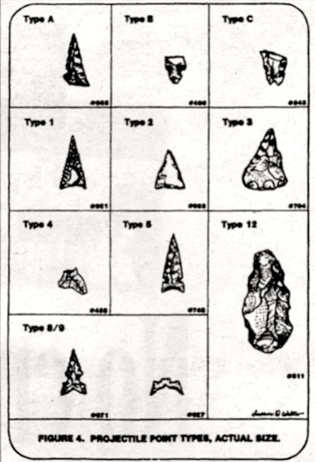 Arrowheads found in Rancho Jamul. Excavation — with all soils passed through a one-inch mesh screen — also produced 142 flaked stone tools.
