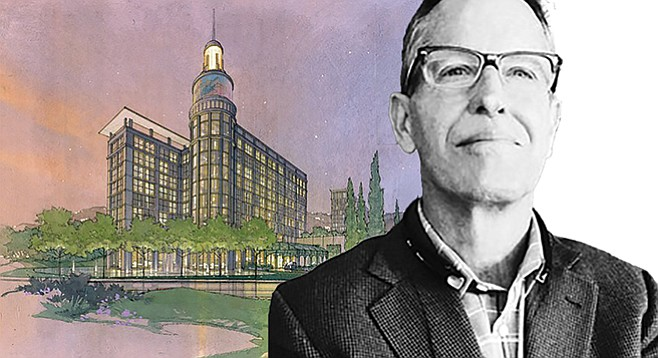"""Doug Austin and his old, unexecuted design for a new U-T building. """"I've always seen the paper as a beacon of the community,"""" he said."""