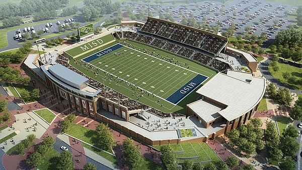 Artist's rendering of a proposed 50 million high school football stadium for the McKinney School District in Texas