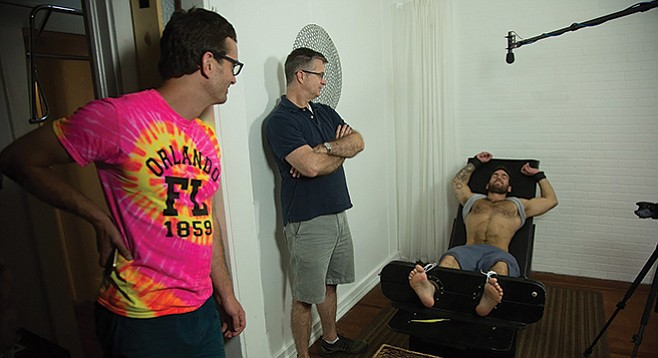 Co-director David Farrier (left) discovers that the goings on in the competitive endurance-tickling world are no laughing matter.