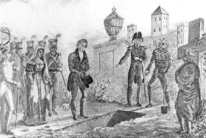"Burial of James O. Pattie on Presidio Hill. Governor Echeandia of San Diego ""looked upon the Americans as being worse than thieves and murderers."" He tore up their passports and put them in a dungeon."