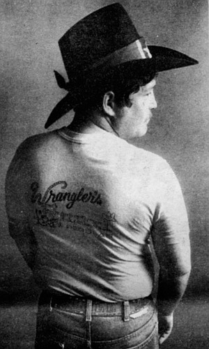 "Wrangler's Roost shirt. ""We say grace and we say 'ma'am,'/If you ain't into that, we don't give a damn."""