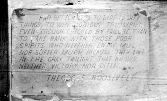 "Teddy Roosevelt sign. She recalled what he'd said about the Roosevelt quotation: ""He said. 'That's the way to be,' and I said. 'But I don't want to be that way! I don't want to suffer.'"""