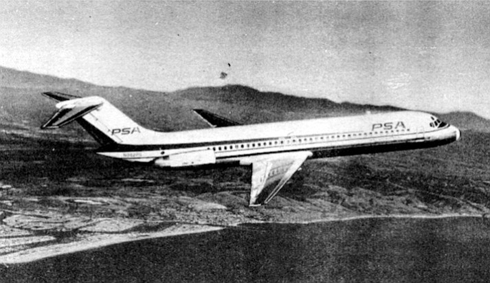 Boeing 727-100, c. 1965.  The airline accounted for forty percent of the air traffic along the San Diego-L.A.-San Francisco air corridor by 1963.