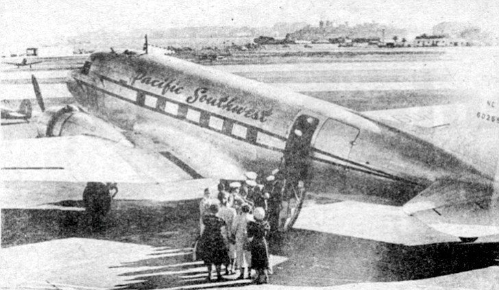 Premiere flight, May 6, 1949. Initial operations began with a leased, thirty-one-seat DC-3 to fly once a week between San Diego and Oakland, with a layover at the Hollywood-Burbank airport.