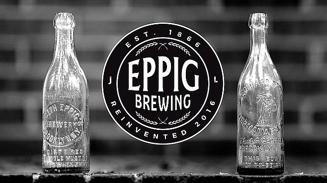 The new Eppig Brewery brand, along with antique bottles from the original family brewery dating to 1866.