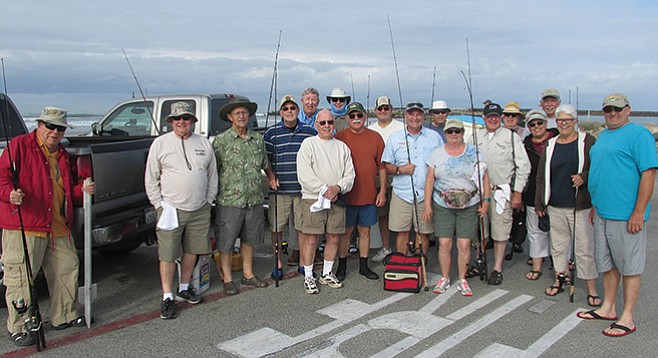 Varney (behind red tackle box) with Escondido anglers