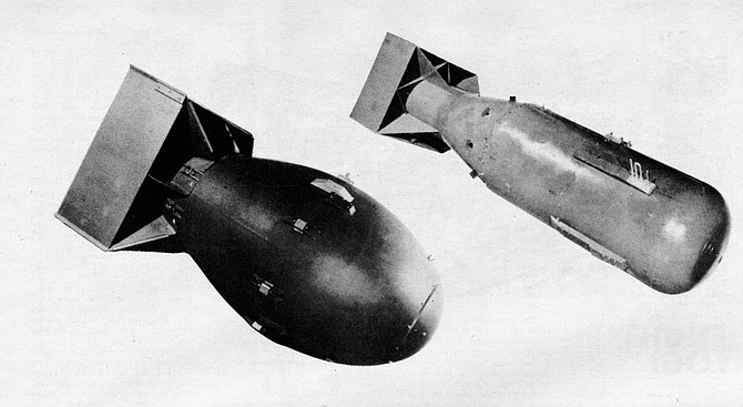 """Little Boy/Hiroshima (left); Fat Man/Nagasaki (right). """"They had given a lot of thought to making a demonstration drop — having the Japanese come in under a white flag and witness it. And they felt that there was too much of an opportunity for it to be a dud."""""""
