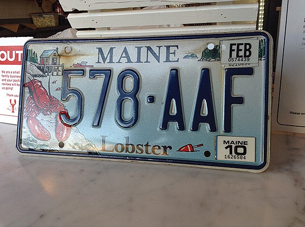 Even Maine license plates have lobsters all over them