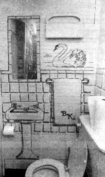 Before improvements were made, the bathroom had no sink, so Snyder cheerfully painted one on the wall.