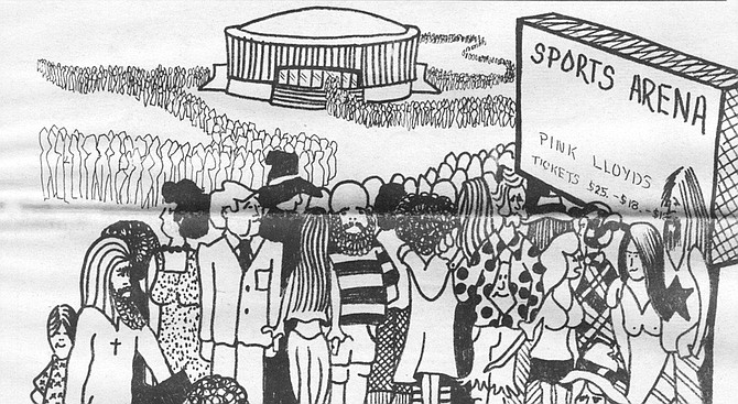 Drawing of fans waiting for a concert to begin
