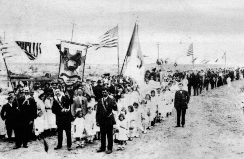 A Portuguese community religious procession in Point Loma; 1915. Today there are no Portuguese-speaking priests at St. Agnes.
