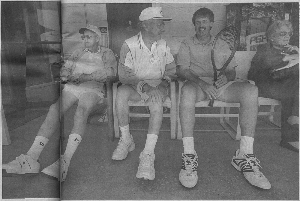 Peter Herrmann (with racket). In the summer of '74, vacationing at Glorietta Bay with my parents, I saw Herrmann hitting two courts over from where we were rallying. I dared not speak to him, since he was so good and I was but a speck.