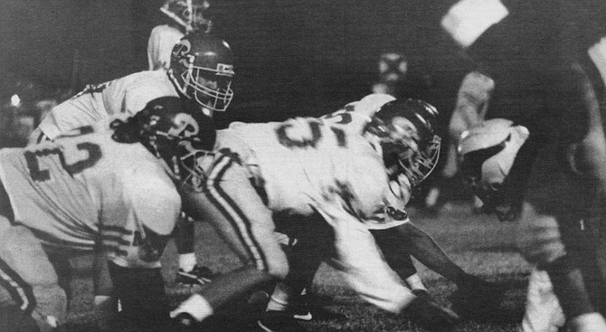 """Holtville High Vikings against Santa Fe Christian.  """"Chris! Chris! Watch the screen now, watch the screen! Get up for the challenge, Danny!"""" - Image by Sandy Huffaker, Jr."""