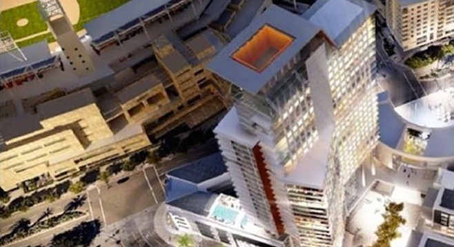 Top view of high-rise originally proposed for the Ballpark District